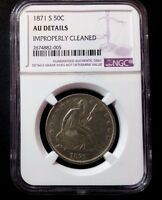 USA   1871 S  50 CENT SEATED LIBERTY HALF DOLLAR COIN NGC AU   21S 7