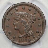 1846 N 26 PCGS VF 35 TALL DATE BRAIDED HAIR LARGE CENT COIN 1C EX; TWIN LEAF