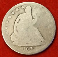 1861 S SEATED LIBERTY HALF DOLLAR AG BEAUTIFUL COIN CHK OUT STORE   $ SH29