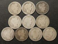 10 SILVER BARBER DIMES 10 CENT  ALL DIFFERENT  1898 1916 P & D C657C