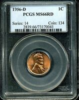 1956 D 1C LINCOLN WHEAT CENT MS66 RD PCGS 73170041