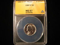 1987 P JEFFERSON NICKEL 5C ANACS MS67FS 6 STEPS