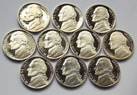1990 1999 JEFFERSON NICKEL 10 COIN CAMEO PROOF  SET