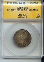 1787 GREAT BRITAIN SHILLING KM 607.2  AU55 DETAILS OLD CLEANING