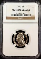 1963 PROOF JEFFERSON NICKEL CERTIFIED PF 69 ULTRA CAMEO BY NGC