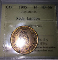 1905 CANADA PENNY ICCS MS66 RED LANDON PEDIGREE   ONLY 1 OTHER HIGHER