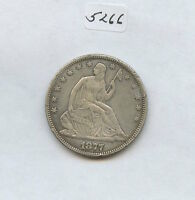 1877 SEATED HALF 5266 XF CLEANED. RIM NICKS. CAREFULLY CHECK OUT THE PHOTOS.
