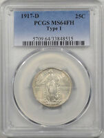 1917 D TY 1 STANDING LIBERTY QUARTER PCGS MS 64 FH