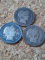 3 BARBER SILVER DIMES 10C 1900,1908,1916 3 COIN LOT  NICE