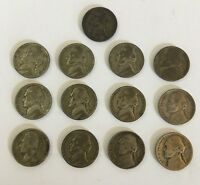1942 1945 P/S JEFFERSON NICKEL U.S COIN WARTIME SILVER LOT OF 13
