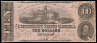 1862 $10 CONFEDERATE STATES NOTE RICHMOND VIRGINIA FIFTH ISSUE CS 52 16828
