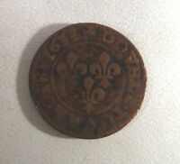 VINTAGE FRANCE COPPER DOUBLE TOURNOIS COIN LOUIS XIII 1633 1010