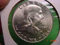 1959 D FRANKLIN HALF  BRILLIANT  FROSTY UNCIRCULATED   SILVER