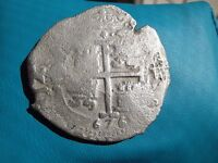 AUTHENTIC 1676 SHIP WRECK PIECE OF 8 SPANISH COB  COIN
