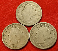 1897, 1898, 1899 LIBERTY V NICKEL G  DATES COLLECTOR, 3 COINS LN454