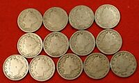 1900-1912 LIBERTY V NICKEL G FULL RIMS COLLECTOR 13 COINS  QUALITY LN551