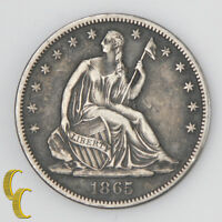 1865 S US SEATED LIBERTY HALF DOLLAR SILVER VERY FINE VF FULL STRONG LIBERTY