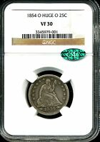 1854 O 25C HUGE O LIBERTY SEATED QUARTER VF30 NGC CAC 3345979 001