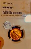 1953 D LINCOLN WHEAT CENT..NGC MINT STATE 67 RD..GEM   SALE 50OFF   REDUCED 7/20