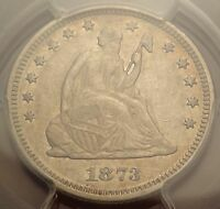 PCGS XF45 1873 NO ARROWS CLOSED 3 SEATED LIBERTY QUARTER  25C VARIETY