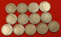 1900-1912 LIBERTY V NICKEL G FULL RIMS COLLECTOR 13 COINS  QUALITY LN559