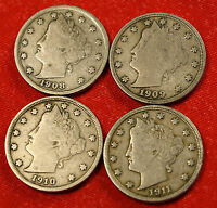 1908, 09, 10, 11 LIBERTY V NICKEL F  QUALITY COLLECTOR, 4 COINS LN379