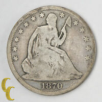 1870 SEATED LIBERTY SILVER HALF DOLLAR G GOOD CONDITION