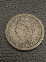 1846 BRAIDED HAIR LARGE CENT   TALL DATE   VF CONDITION   DARK.   INV1544