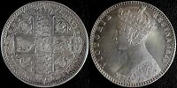 NARKYPOON 'S NEAR UNCIRCULATED 1849 VICTORIA 'GODLESS' STERLING SILVER FLORIN