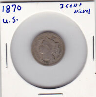 1870 US NICKEL 3 CENT COIN. 3C.  COLLECTIBLE  / SEE PICTURES