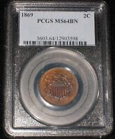1869 US TWO CENT PIECE - NGC MINT STATE 64BN 2C -104