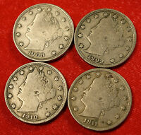 1908, 09, 10, 11 LIBERTY V NICKEL F  QUALITY COLLECTOR, 4 COINS LN377