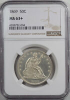 1869 LIBERTY SEATED HALF DOLLAR NGC MS 63 FROSTY WHITE & CHOICE