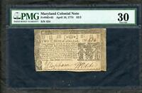 1774 COLONIAL CURRENCY MARYLAND 2/3 DOLLAR PMG 30 PLEASE