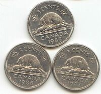 CANADA 1985 1986 1987 CANADIAN NICKELS BEAVER NICKEL   EXACT 3 COIN SET