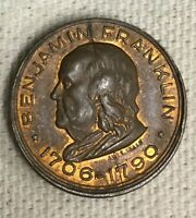 BENJAMIN FRANKLIN 1706 1790 MEMORIAL SOUVENIR TOKEN HIGH GRADE 2293