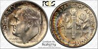 1946 ROOSEVELT SILVER DIME GRADED MS66FB BY PCGS WITH RAINBOW TONED REVERSE