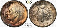 1952 ROOSEVELT SILVER DIME GRADED MS66FB BY PCGS & COLOR TONED