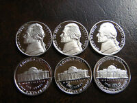 1  LOT OF 3 1981,1982,1983  PROOF JEFFERSON  NICKELS GEM   CAMEO    GORGEOUS