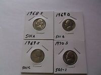 JEFFERSON NICKELS  1968 S 1969 D 1969 S 1970 S  SET  900 AA  CIRCULATED
