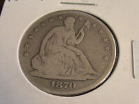 1870 SEATED LIBERTY HALF DOLLAR FULL DATE FULL RIMS  H448