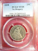 1838 SEATED LIBERTY QUARTER NO DRAPERY PCGS VF 35 CERT 26991663