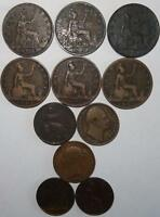 GREAT BRITAIN BRONZE D 1860 61 62 63 68 D 1891 1904 COPPER D 1821 37 46