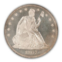 1867 50C LIBERTY SEATED HALF DOLLAR PCGS PR65CAM