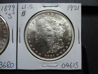 US 1879 S  1921  SILVER MORGAN DOLLAR COMBO,2 COINS, BOTH  GEM UNC