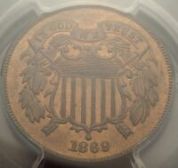 1869 2C PCGS MINT STATE 65 RED BROWN BETTER DATE GEM RB TWO CENT PIECE