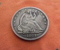 1864 50C SEATED LIBERTY HALF  VF   CIVIL WAR KEY DATE  ONLY 379,100 MINTED