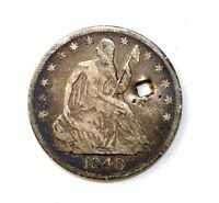 1848 O SEATED LIBERTY 90 SILVER HALF DOLLAR WITH HOLE  C6376