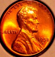 1958 D LINCOLN WHEAT CENT.. LUSTER TONE BU RD..SALE 25 OFF HURRY GE