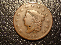 1830 CORONET HEAD LARGE CENT VG FINE N 11 LATE DIE STATE WE COMBINE ON SHIPPING